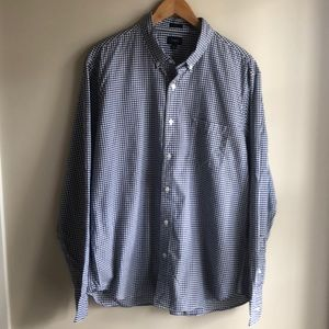 Men's Long Sleeve Navy and White Button Down
